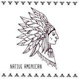 Американский индеец в bonnets войны Линейная иллюстрация вектора Стоковые Изображения RF