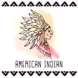 Американский индеец в bonnets войны также вектор иллюстрации притяжки corel Стоковые Фото