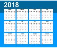 Американский календарь 2018 Старты недели на воскресенье Стоковое Изображение RF