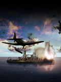 Американский корабль под нападением Стоковые Изображения RF