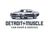 Американский логотип вектора автомобиля мышцы изолированный на белой предпосылке стоковое изображение rf