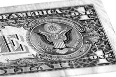 Американский орел на одном долларе США Стоковые Фотографии RF