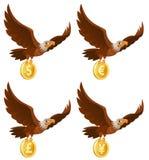 Американский орел летая держит монетку Доллар, евро, иена, ster фунта иллюстрация вектора