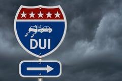 Американский дорожный знак шоссе DUI Стоковое Фото