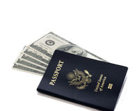 Американский пасспорт с 100 долларовыми банкнотами Стоковое Изображение RF
