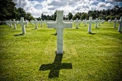 Американский пляж Нормандия Франция Colleville-sur-Mer Омахи кладбища Стоковая Фотография