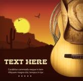 Американский плакат музыки кантри Западная предпосылка с гитарой и Стоковое Изображение