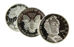 американский серебр доллара Стоковые Изображения