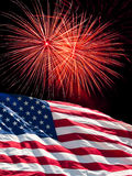 Американский флаг и феиэрверки Стоковые Фотографии RF