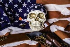 Американский флаг и человеческий череп Стоковое Изображение RF