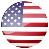 американский флаг кнопки лоснистый Стоковые Фотографии RF