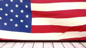 Американский флаг с деревянной трибуной акции видеоматериалы