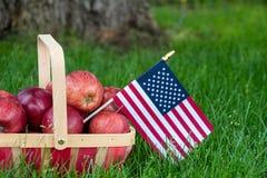 Американский флаг с красными яблоками стоковое фото