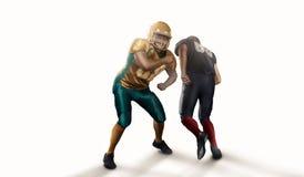 Американский футболист в белизне изолированной действием стоковое фото rf