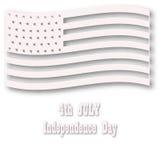 Американский флаг в белом стиле Three-dimentional конструировало иллюстрацию для торжества 4-ое июля мир вектора искусства светлы Стоковое Фото