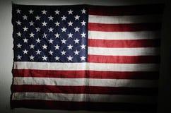 Американский флаг в сумерк Стоковые Фотографии RF