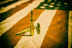 Американский флаг и пули Стоковое Изображение