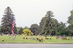 Американский флаг и цветки на Graveside стоковые изображения