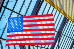 Американский флаг на дисплее Стоковые Фото