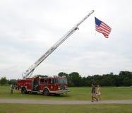 Американский флаг на пожарной машине Стоковое Изображение
