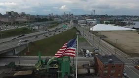 Американский флаг на Провиденсе сток-видео