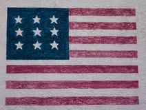 Американский флаг на старой стене Стоковая Фотография RF
