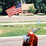 Американский флаг с самокатом стоковая фотография