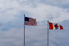 американский чанадец граници Стоковая Фотография