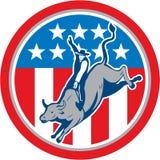 Американский шарж круга катания Bull родео иллюстрация штока