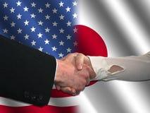 американский японец рукопожатия иллюстрация штока