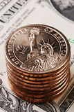 американский доллар монетки Стоковая Фотография