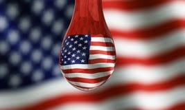 американским вода ринва капельки увиденная флагом Стоковая Фотография RF