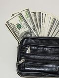 100 американских долларов изображений в сумке, изображения доллара в бумажнике денег, Стоковые Изображения RF