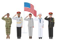5 американских солдат в форме иллюстрация вектора