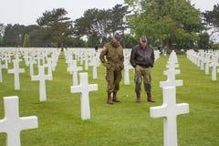 Американское воинское кладбище около пляжа Омахи на sur Mer Colleville как историческое место 1944 посадок дня Д объединенных на  Стоковые Фотографии RF