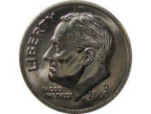 американское изолированное монета в 10 центов Стоковое Изображение RF