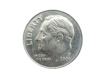американское монета в 10 центов Стоковая Фотография RF