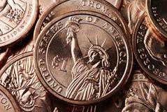 американское обратный доллара монетки Стоковые Фото