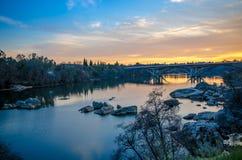 Американское река на заходе солнца Стоковые Изображения