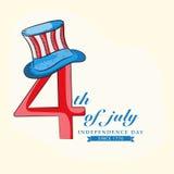 Американское торжество Дня независимости с стильным текстом Стоковые Фотографии RF