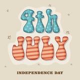 Американское торжество Дня независимости с стильным текстом Стоковое Изображение
