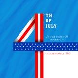 Американское торжество Дня независимости с стильным текстом бесплатная иллюстрация