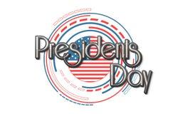 Американское торжество президентов Дня с стильным флагом иллюстрация штока