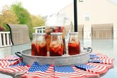 Американское infustion плодоовощ и чая bbq партии лета праздника с ягодами Стоковые Изображения RF