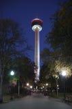 америка освещает башню ночи Стоковое Изображение