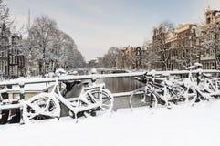 Амстердам в de зиме, Амстердаме в зиме стоковое изображение rf