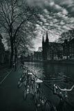 Амстердам, канал и велосипеды Стоковое фото RF