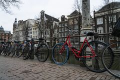 Амстердам красный велосипед стоковые изображения rf
