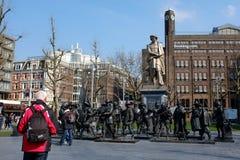 Амстердам - городской пейзаж - Rembrandtplein Стоковые Изображения RF