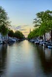 Амстердам на заходе солнца Стоковое Изображение